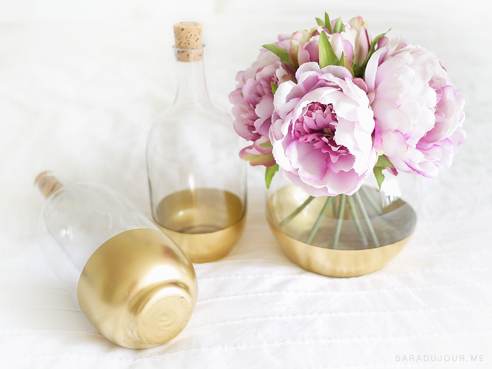 DIY Gold Dipped Glass Bottles | Sara du Jour