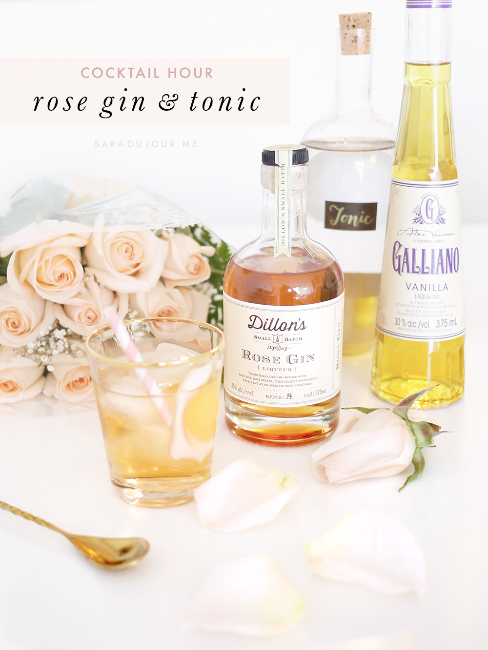 Dillon's Rose Gin and Tonic Cocktail Recipe | Sara du Jour