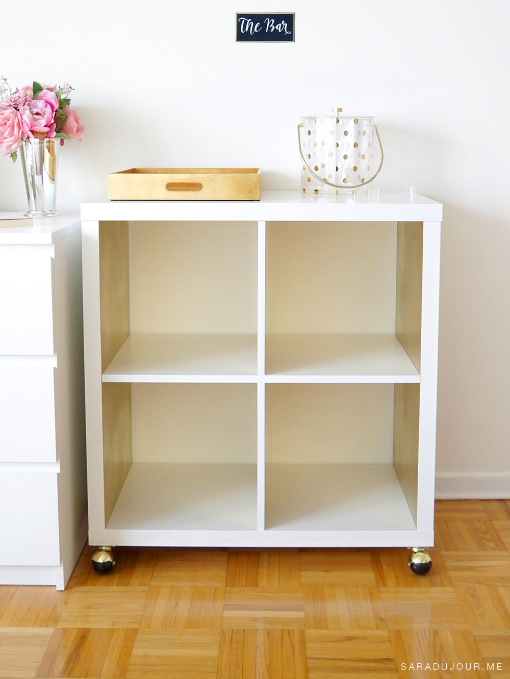 diy white gold bar cart ikea hack sara du jour. Black Bedroom Furniture Sets. Home Design Ideas