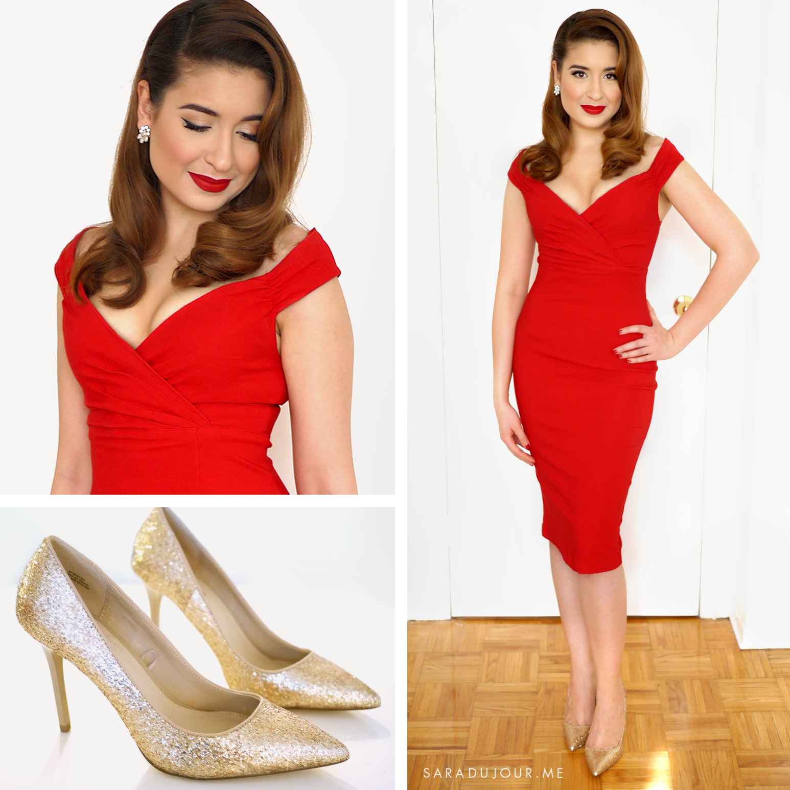 Retro Glamour Little Red Dress Outfit | Sara du Jour