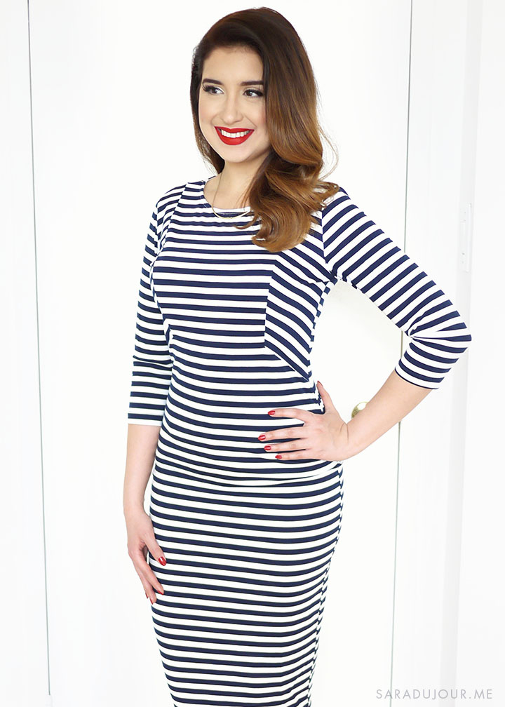 Navy Striped Wiggle Dress Outfit | Sara du Jour