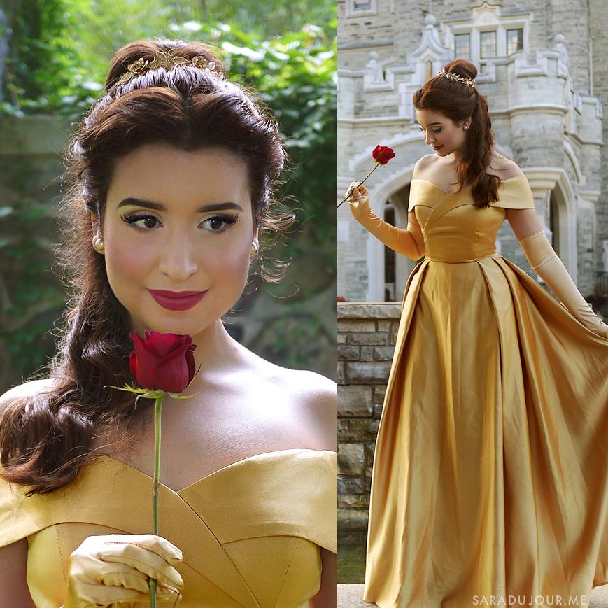 Belle Gold Dress Cosplay Makeup + Costume | Sara du Jour