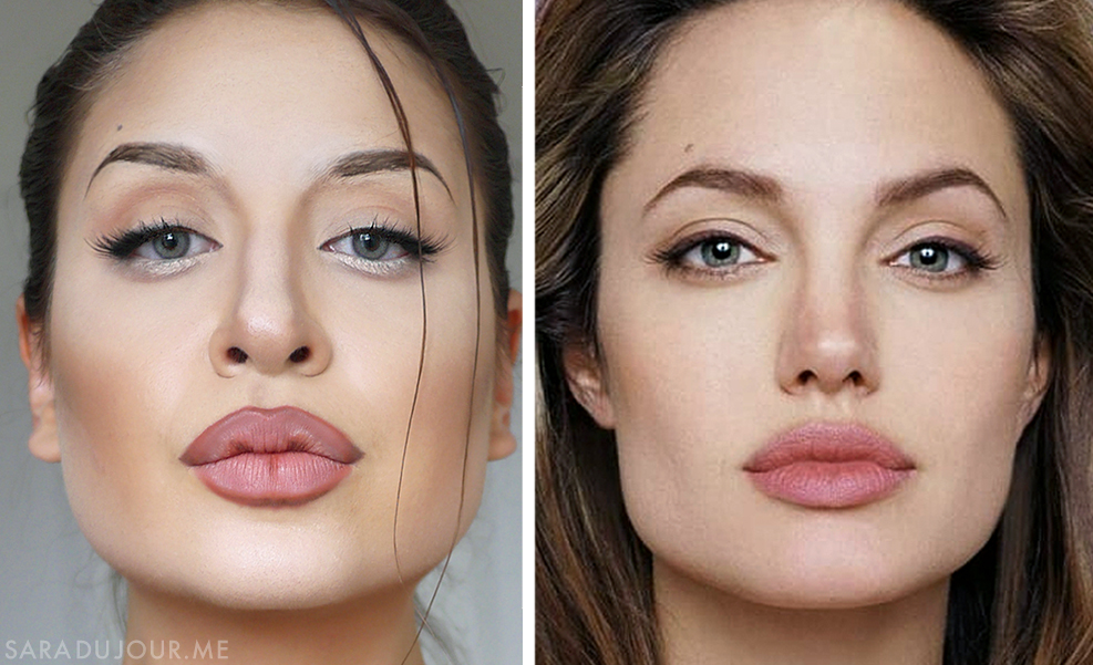 Angelina Jolie Makeup Transformation Side by Side | Sara du Jour